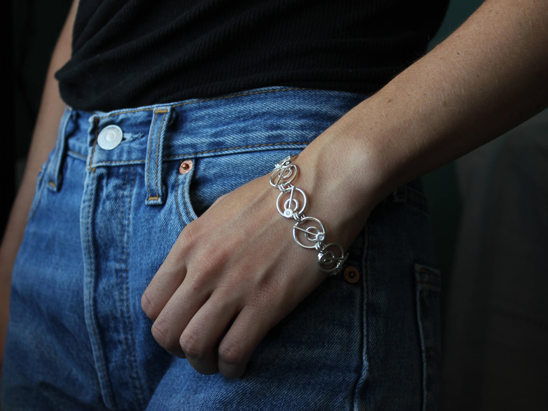 HANDMADE Sterling Silver Snake Chain Link Bracelet One of a kind Callo Metal Art