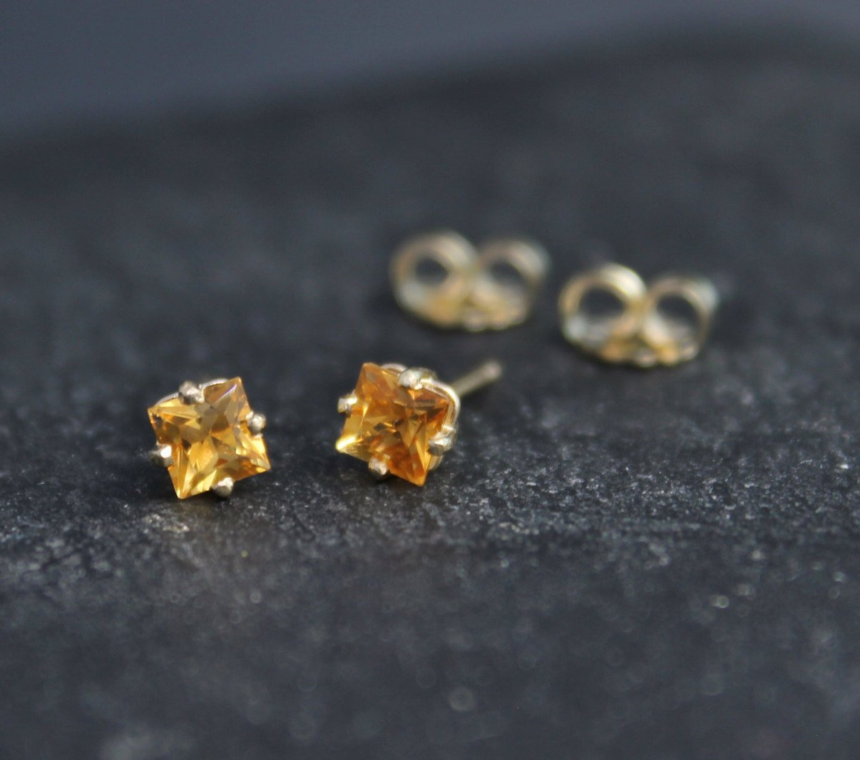 Gift For Her 14K White Gold Citrine Earrings November Birthstone Cushion Cut Golden Citrine Gemstone Stud Earrings 6x6mm Square