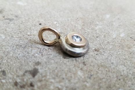 Diamond Coin Pebble Necklace, 14k Yellow Gold Diamond Pendant, Conflict Free Eco