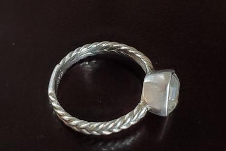 Asscher Cut WHITE Topaz Ring, 8mm Asscher Cut Asscher bezel ring asscher solitai