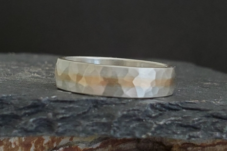 5mm Hammered yellow Gold and Silver Ring, Wedding Band, Gold Inlay Ring, Men's R