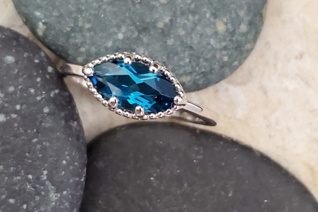 London Blue topaz marquise east west palladium sterling ring statement ring 10 x