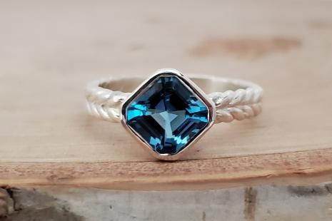 Asscher Cut Swiss blue Topaz Ring, 7mm Asscher Cut Asscher bezel ring asscher so