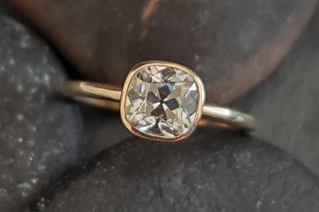 Mine cut cushion Moissanite 14k yellow Gold 6mm  Bezel Set  Diamond Alternative