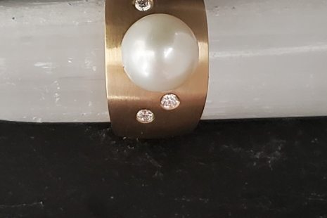White Pearl Solitaire Ring, 14k Yellow gold, diamond accents, designer unique s