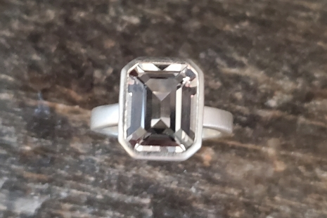 White Topaz ring Octagon Emerald Cut sterling silver Bling ring Ready to Ship Sz