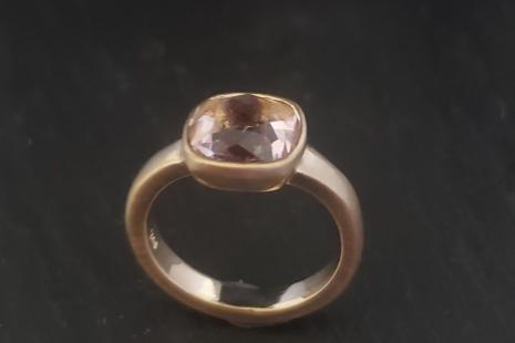 Rose cut cushion Morganite 8mm low rise ring, engagement ring, statement ring, r