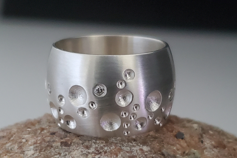 Moonscape ring sterling silver diamond ring ,statement ring earthy ring, recycle