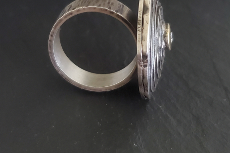 14k Yellow Gold & Silver Diamond Ring, Mixed Metals, Statement ring, Artsy ring,