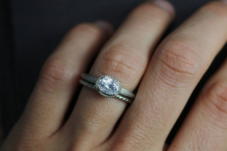 14k White Gold Moissanite Ring, Oval Vintage Inspired East to West Engagement Ri