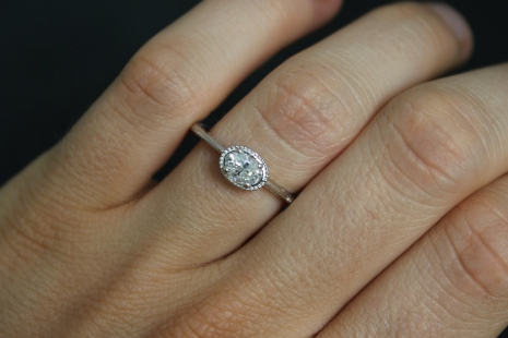 14k White Gold Diamond Ring, Oval Vintage Inspired, Carved Band, East to West Ov
