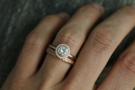 14k Rose Gold Moissanite Halo Ring, Engagement Ring, Modern Bride, Diamond Halo,