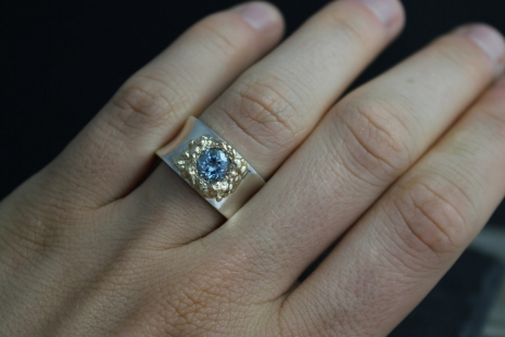 Silver Gold Sky Blue Topaz Ring , Fused 14k Yellow Gold Ring, Organic Ring, Silv