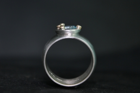 12mm Wide Sky Blue Topaz Ring, 18k Yellow Gold Accents, Pebble Ring, Sterling Si