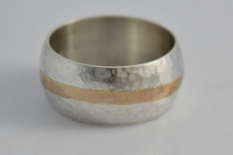 10mm Hammered yellow Gold and Silver Ring, Wedding Band, Gold Inlay Ring, Men's