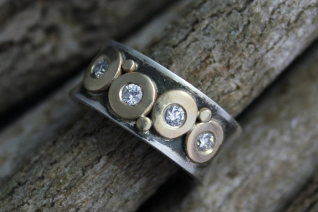 Diamond Pebble Ring Silver Gold, 8mm 4 Stone, Sterling Silver and 14k Yellow Gol