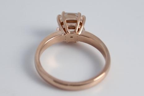 14k Rose Gold Asscher Cut White Topaz Ring, Diamond Alternative, Alternative Eng