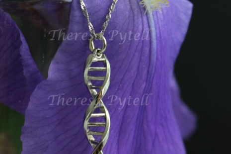 14k White Gold DNA Pendant, DNA Jewelry, Double Helix, Eco-Friendly Gift for Sci