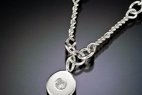 Sterling silver hand made link chain, necklace diamond pebble, silver coin neckl