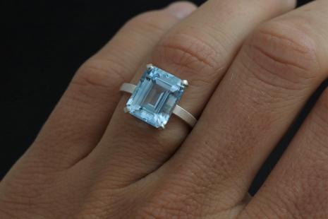 Octagon Emerald Cut Sky Blue Topaz Ring, 9mm x11mm, 5.80 carat, Sterling Silver