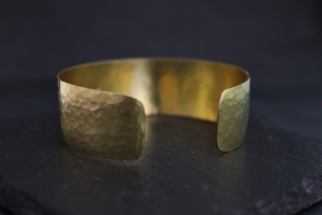 Hammered 18k Yellow Gold Cuff Bracelet, Handmade Yellow Gold Bracelet, Wide Cuff