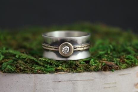 14k Yellow Gold & Silver Diamond Ring, Mixed Metals, Alternative Diamond Engagem