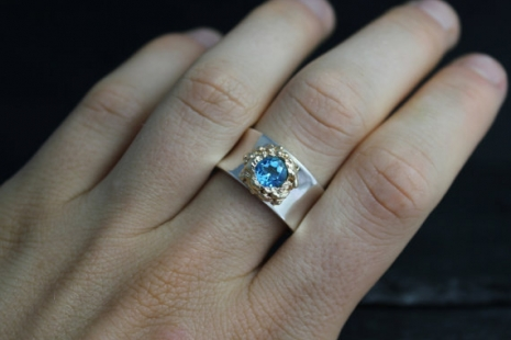 Silver Gold Swiss Blue Topaz Ring , Fused 14k Yellow Gold Ring, Organic Ring, Si