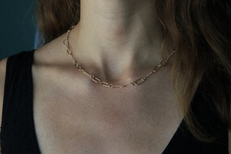 Handmade Gold Chain, Solid 14k Yellow Gold Chain Link Necklace, One of a Kind, R