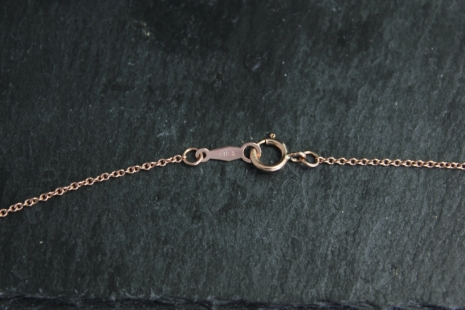 14k Rose Gold Diamond Pendant Necklace, Diamond Solitaire, Textured Bezel Set Di