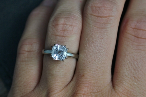 14k White Gold Asscher Cut White Topaz Ring, Diamond Alternative, Alternative En