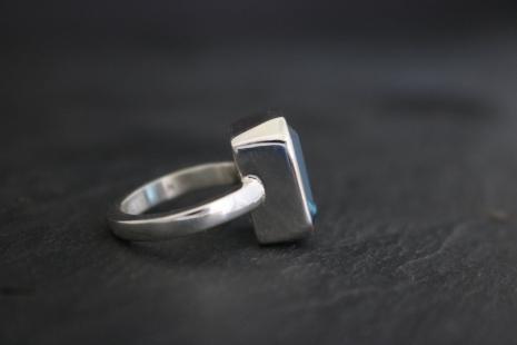 Emerald Cut London Blue Topaz Ring - Bezel Set Ring - Sterling Silver 14mm x 10m