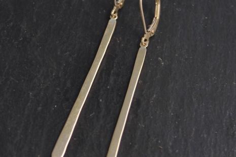 14k Gold Long Bar Earrings, Gold Thread Earrings, Stick, Long Thin Earrings, Rec