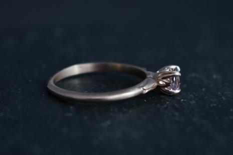 14k Rose Gold Morganite Ring, Vintage Inspired, Solitaire Morganite, Alternative