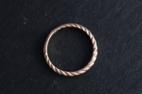 14k Rose Gold Braided Band, 3.5mm Wide Handmade Solid Gold Band, Braided Ring, S