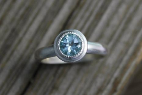Sky Blue Topaz Ring, Halo Ring, Vintage Inspired Milgrain, 6mm Round Gemstone, C