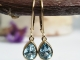 Sky Blue Topaz Dangle Earrings, Yellow Gold Earrings, Pear shape Blue Topaz, Lev