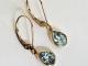 Sky Blue Topaz Dangle Earrings, Yellow Gold Earrings, Pear shape Blue Topaz, Lev