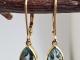 Brushed finish Sky Blue Topaz Dangle Earrings, Yellow Gold Earrings,