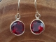 Garnet 14k yellow gold bezel drop earrings 8mm, January birthstone, round drop e