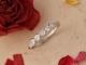 14k White Gold Moissanite Band, Five Stone Forever One Moissanite Ring, Bezel Se