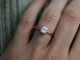 14k Rose Gold 6mm Moissanite Ring, Cushion Cut 6mm Bezel Set Ring, Diamond Alter