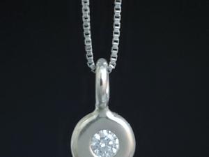 14k White Gold Diamond Coin Pebble Necklace