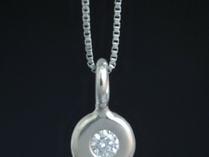 14k White Gold Diamond Coin Pebble Necklace