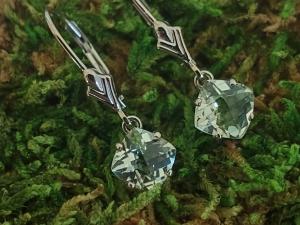 14kt White Gold Green Amethyst, prasiolite, dangle earrings vintage look antique