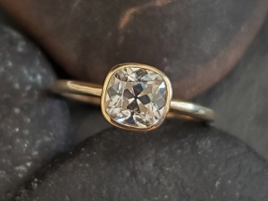 Mine cut cushion Moissanite 14k yellow Gold 6mm  Bezel Set  Diamond Alternative