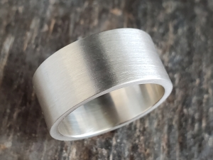 Brushed Sterling Silver Band, Simple Band, 10mm Wide Unisex Band, Wedding Band,
