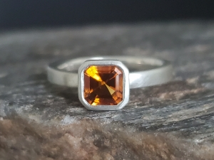 sterling silver  14kt gold Citrine  wide band ringAsscher Cut 6mm, Citrine ring