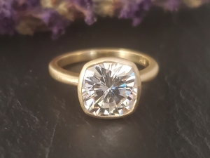 14k Yellow Gold cushion moissanite,  Charles and colvard moissanite, alternative