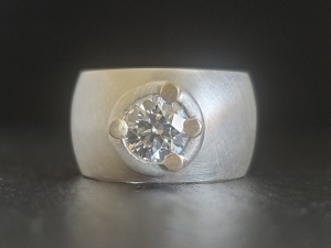 Sterling silver 14kt gold Moissanite wide band ring Statement Ring, engagement r