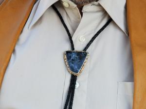 Sterling 14k Spectrolite Labradorite larvakite Bolo tie Handmade bolo leather